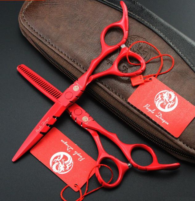 Kéo cắt tóc Puple Dragon đỏ KO-08