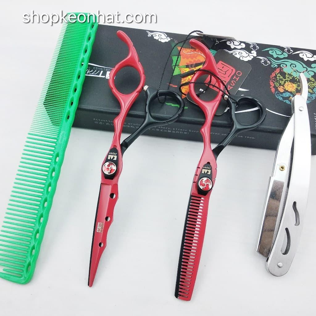 Kéo cắt tóc kasho Đen đỏ