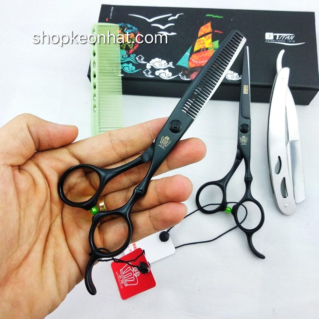 Bộ kéo cắt tóc giá rẻ đen chất lượng